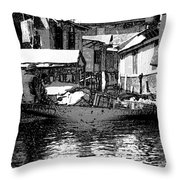 Man Plying A Small Boat Laden With Vegetables In The Dal Lake Throw Pillow