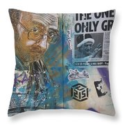 Man Portrait And Collage By C215 Throw Pillow