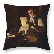 Man Reading By Candlelight Throw Pillow