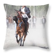 Man Riding A Horse At Kashgar Sunday Market China Throw Pillow
