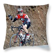 Man Riding Bike In A Race Throw Pillow by Susan Leggett
