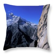 Man Rock Climbing Throw Pillow