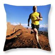 Man Running In Moab, Utah Throw Pillow