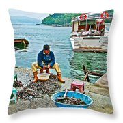 Man Selling Fresh Mussels On The Bosporus In Istanbul-turkey  Throw Pillow
