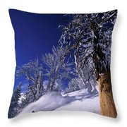 Man Skiing Through Trees In Fresh Throw Pillow
