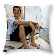 Man Smiling On Sailboat, Casco Bay Throw Pillow