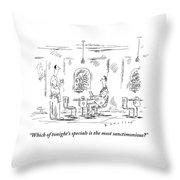 Man Speaks To A Waiter At A Restaurant Throw Pillow