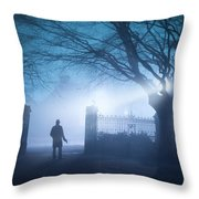 Man Standing In Foggy Gateway At Night Throw Pillow