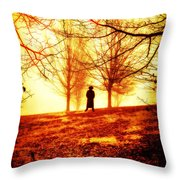 Man Standing In Front Of A Blazing Forest Fire Throw Pillow