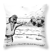 Man Standing On The Beach Screams As A Fleet Throw Pillow