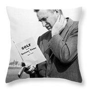 Man Studying A Golf Book Throw Pillow