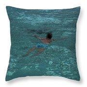 Man Swimming Throw Pillow