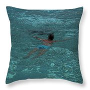 Man Swimming Throw Pillow