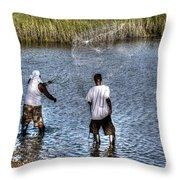 Man Throwing Cast Net Throw Pillow
