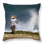 Man Versus The Sea Throw Pillow