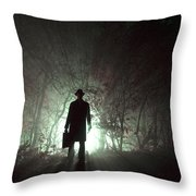 Man Waiting In Fog With Case Throw Pillow