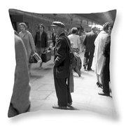 Man Waits In Heuston Station Dublin Throw Pillow