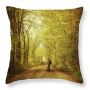 Man Walking  On A Lonely Country Road Throw Pillow