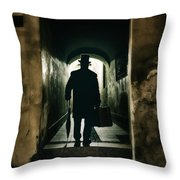 Back View Of A Victorian Man Wearing Top Hat And Long Coat In The Alley Throw Pillow