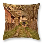 Man With A Horse Throw Pillow