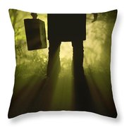 Man With Case In Fog Throw Pillow