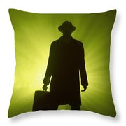 Man With Case In Green Light Throw Pillow