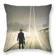 Man With Case On Bridge Throw Pillow