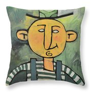 Man With Fancy Hat And Suspenders Throw Pillow