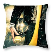 Man With Gas Mask. New Beginning. Skys The Limit Throw Pillow
