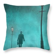 Man With Hat And Overcoat Carrying A Briefcase In Fog Throw Pillow