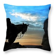 Man With His Horse Throw Pillow