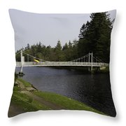 Man With Kayak Crossing Over Small Bridge From Ness Islands Throw Pillow