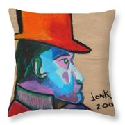 Man With Top Hat Throw Pillow