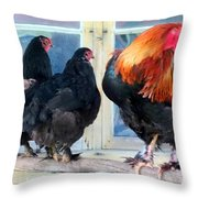 A Very Proud Man With His Two Humble Wives Throw Pillow