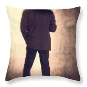 Man With Vintage Umbrella Throw Pillow