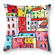 Manarola Colorful Houses Painting Detail Throw Pillow