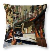 Manarola  Street - Cinque Terre Throw Pillow