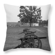 Manassas Battlefield Cannon And House Throw Pillow