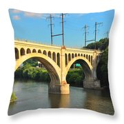 Manayunk Stone Arch Bridge Throw Pillow