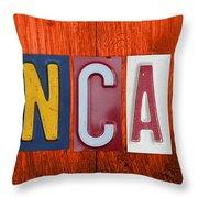 Mancave License Plate Letter Vintage Phrase Artwork On Burnt Orange Wood Throw Pillow