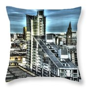 Manchester Buildings Hdr Throw Pillow