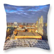Manchester Skyline Panoramic Hdr Throw Pillow