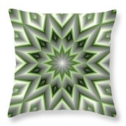 Mandala 107 Green Throw Pillow