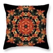 Mandala Daylily Throw Pillow