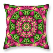 Mandala Green And Pink Throw Pillow