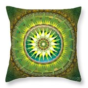 Mandala Green Throw Pillow by Bedros Awak