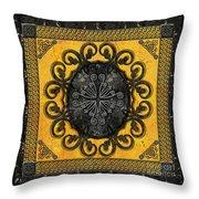 Mandala Obsidian Cross Throw Pillow