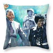 Mandela - Leaving Prison Throw Pillow