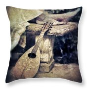 Mandolin By Lady's Feet Throw Pillow