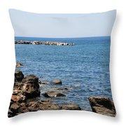 Mandraki Coastline Nisyros Throw Pillow